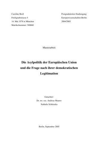 Die Asylpolitik der Europäischen Union - Europawissenschaften Berlin