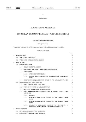 European personnel selection office epso eur lex europa - European personnel selection office epso ...