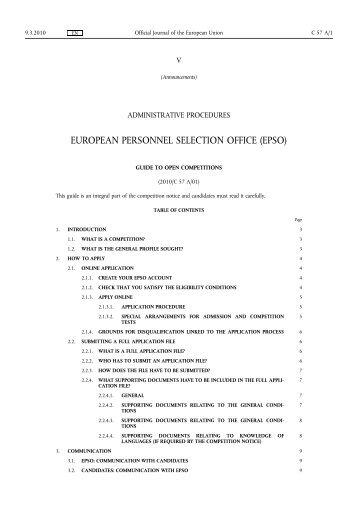 European personnel selection office epso eur lex europa - European personnel selection office epso ...