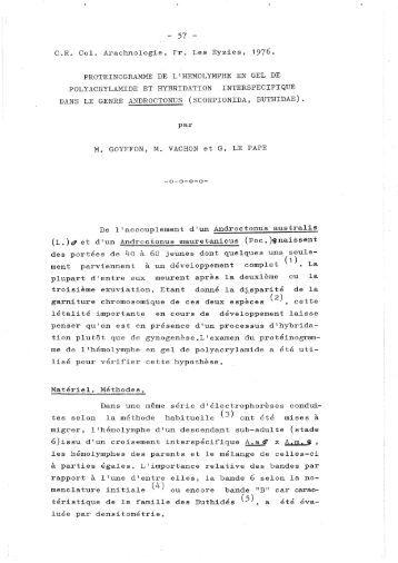 Goyffon M, Vachon M & Le Pape G - European Society of Arachnology