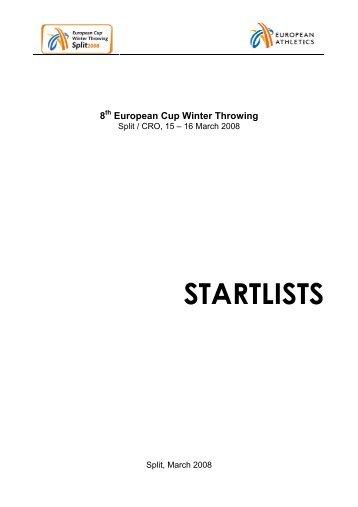 STARTLISTS - European Athletic Association