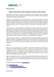 PRESS RELEASE adesso's information security management ...