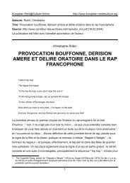provocation bouffonne, derision amere et delire oratoire dans le rap ...