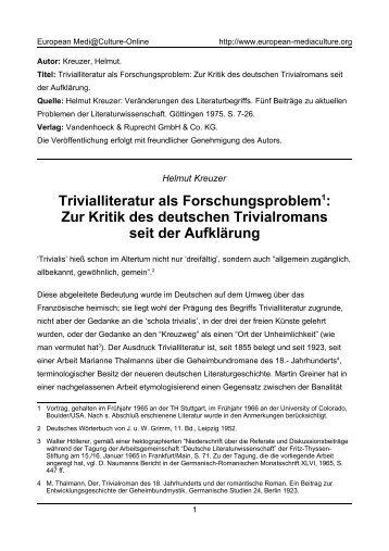 Zur Kritik des deutschen Trivialromans seit der Aufklärung