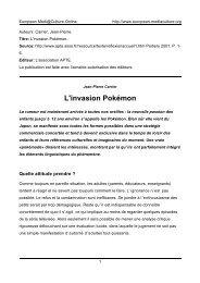 L'invasion Pokémon - European MediaCulture