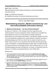 """Medienbildung zwischen """"Medienverwahrlosung"""" - European ..."""