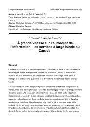 les services à large bande au Canada - European MediaCulture