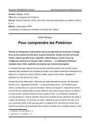 Pour comprendre les Pokémon - European MediaCulture