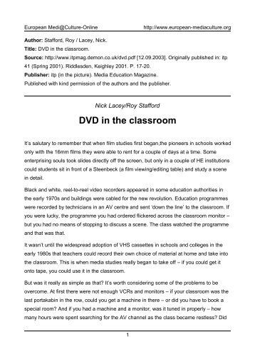 DVD in the classroom - European MediaCulture