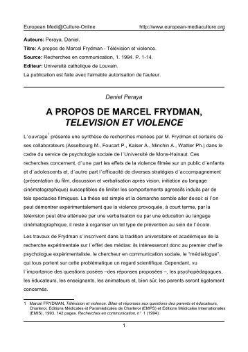 a propos de marcel frydman, television et violence - European ...