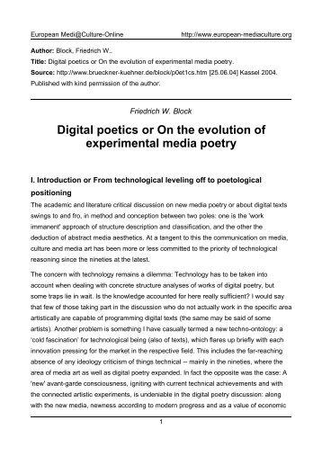Digital poetics or On the evolution of - European MediaCulture