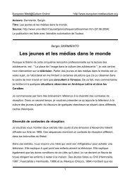Les jeunes et les médias dans le monde - European MediaCulture