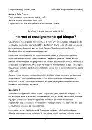 Internet et enseignement: qui bloque? - European MediaCulture