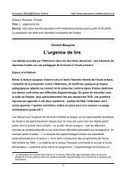 L'urgence de lire - European MediaCulture
