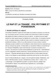 Position et identité du sujet dans le rap - European MediaCulture