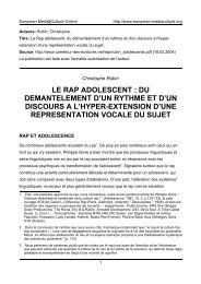 le rap adolescent - European MediaCulture