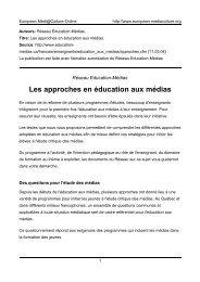 Les approches en éducation aux médias - European MediaCulture