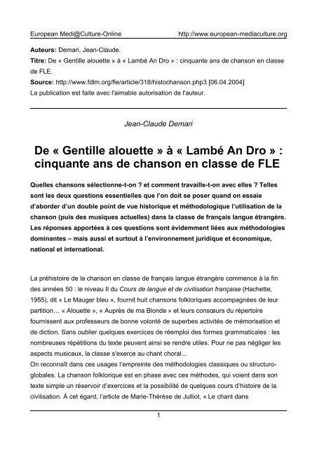 De « Gentille alouette » à « Lambé An Dro » - European MediaCulture