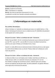 L'informatique en maternelle - European MediaCulture