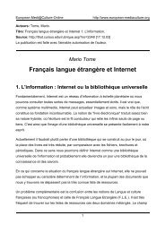 Français langue étrangère et Internet - European MediaCulture