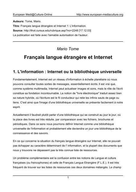 Francais Langue Etrangere Et Internet European Mediaculture