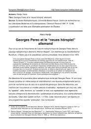 Georges Perec et le - European MediaCulture