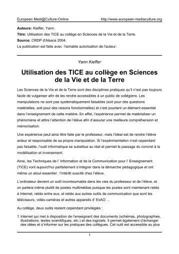 Utilisation des TICE au collège en Sciences de - European ...