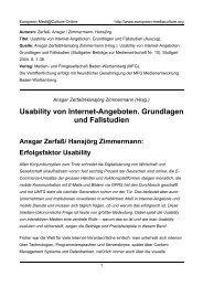 Usability von Internet-Angeboten. Grundlagen und Fallstudien