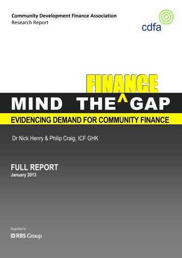 MIND THE GAP - Community Development Finance Association
