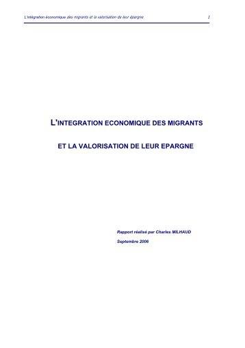 l'integration economique des migrants et la valorisation de leur ...