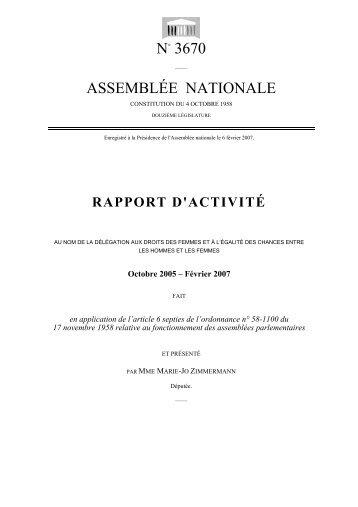 Rapport d'activité - Assemblée nationale