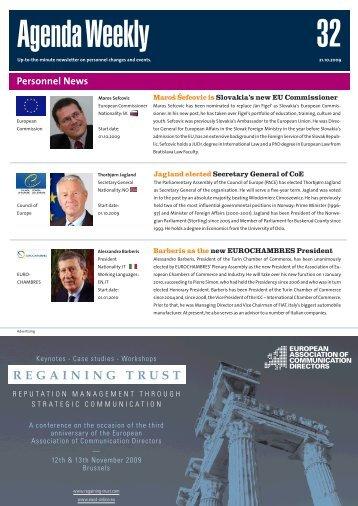 21 Oct 09 - European Agenda