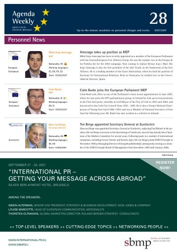 Agenda Weekly - European Agenda