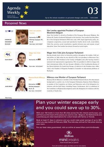 14 Jan 08 - European Agenda
