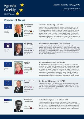 Agenda Weekly 13/03/2006 - European Agenda
