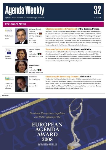 25 Sep 08 - European Agenda