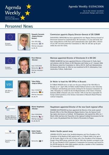 Agenda Weekly 03/04/2006 - European Agenda