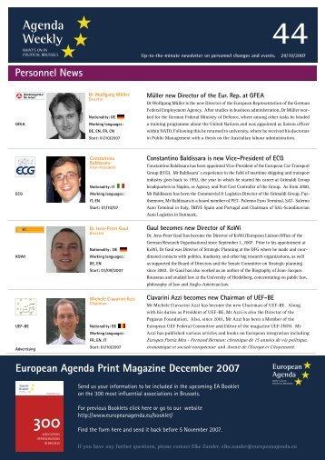 29 Oct 07 - European Agenda