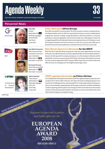 01 Oct 08 - European Agenda