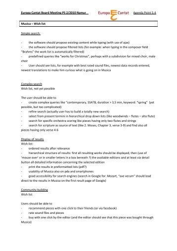 Wish list Simple search - European Choral Association - Europa ...