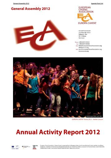 Activity Report 2012 - European Choral Association - Europa Cantat