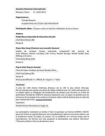 Semaine Chantante Internationale Briançon, France 21 - 28/07 ...