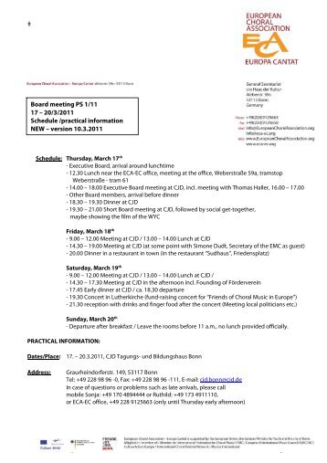 20/3/2011 Schedule /practical information NEW – version 10.3.2011