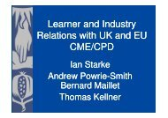 Learner and Industry Relations with UK and EU CME/CPD