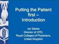 Ian Starke Director of CPD, Royal Colleges of Physicians, United ...