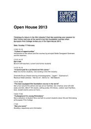 Open House 2013 - The European Film College