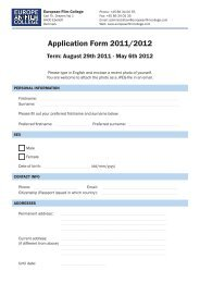Application Form 2011/2012 - The European Film College