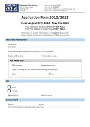 Application Form 2012/2013 - The European Film College