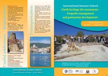 Lesvos (Greece), 25 June – 4 July 2013 - European Geoparks ...