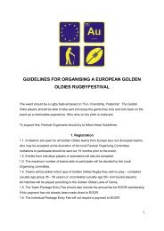 guidelines for organising a european golden oldies rugbyfestival
